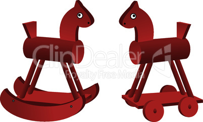 red toy horses isolated on white background.