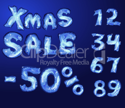 Symbol Christmas SALE, numerals and letters are made by hoarfrost
