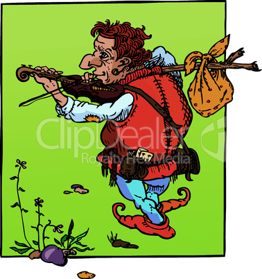 little hunchback playing violin. Fantasy fairy tail illustration.