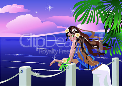 Girl on tropical sea side looking sunset