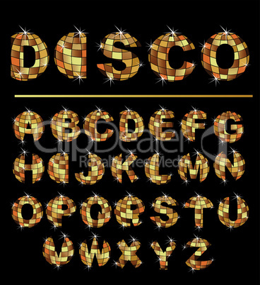 Gold disco ball letters - alphabet set
