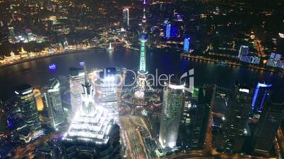 Bird's eye view of Shanghai Pudong at night. time lapse