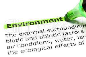 'Environment' highlighted in green