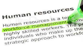 'Workforce management' highlighted, under 'Human resources'