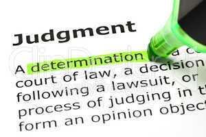'Determination' highlighted, under 'Judgment'