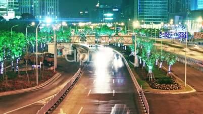 city traffic at night. time lapse