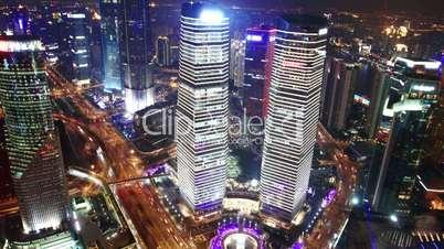 Bird's eye view of Shanghai at night. time lapse
