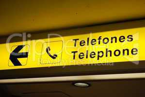 Telephone sign on airport