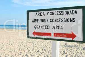 Sign at the beach (granted area)
