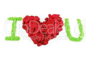 I LOVE U, Red heart made of rose petals for Valentine's Day