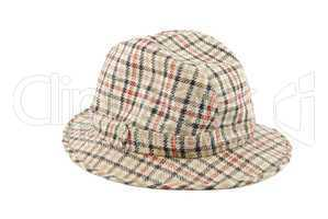 Checked brown hat on white