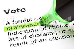'Preference' highlighted, under 'Vote'