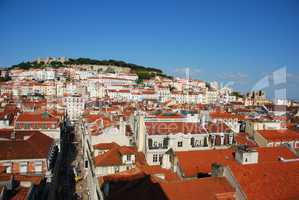 Lisbon cityscape with Sao Jorge Castle and Sé Cathedral