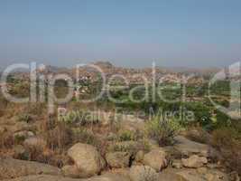 Rocks and fields, Hampi, India.