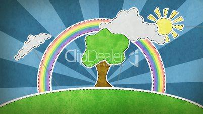 summer scene with rainbow decoration loop