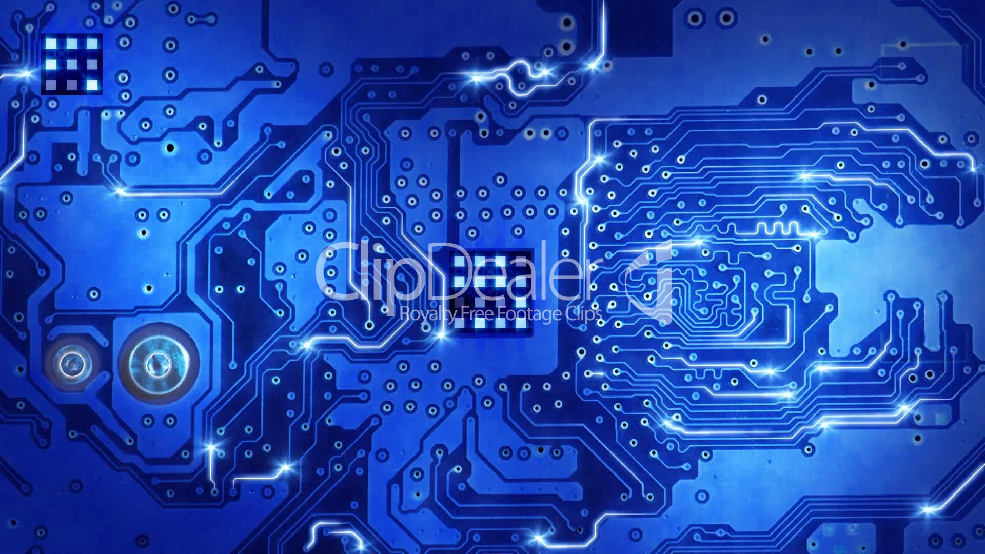 clips computer circuit board blue loopable background
