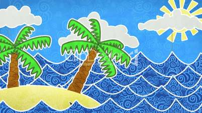tropical island and palms loop animation