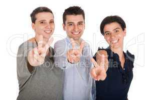 Brother and sisters showing victory sign