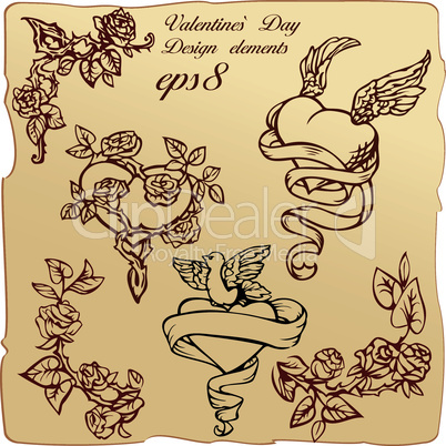 Set of vintage elements and vignettes for Valentine`s Day greeting - hearts, roses, angels wings, dove