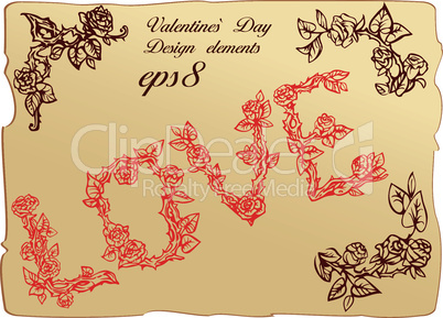 Set of vintage elements and vignettes for Valentine`s Day greeting - word LOVE is made of roses