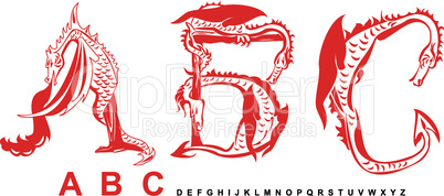 Series of dragons alphabet, letters ABC, fantasy dragon font