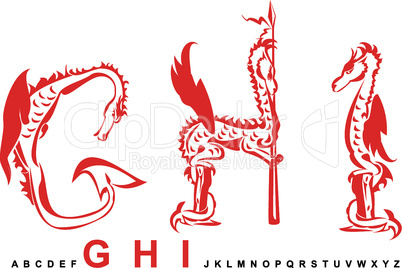Series of dragons alphabet, letters GHI, fantasy dragon font