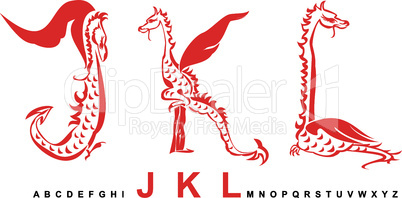 Series of dragons alphabet, letters JKL, fantasy dragon font