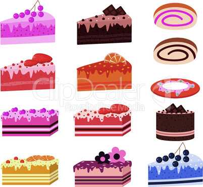 Cakes, pieces of pies, sweets