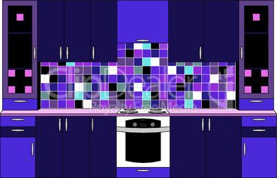 Interior. Kitchen in violet tones