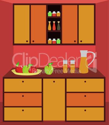 Kitchen furniture. Interior.