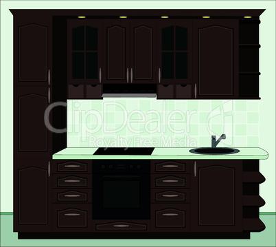 Kitchen furniture. Interior of kitchen