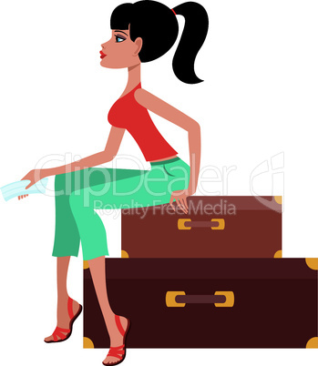Woman sits on a suitcase and holds the ticket