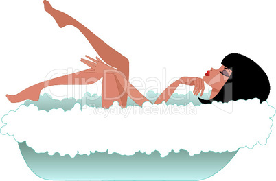 Woman in a bath. White background