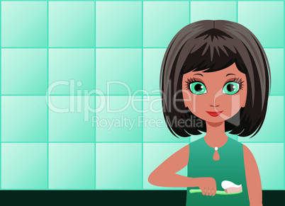 Girl brushes teeth in a bathroom