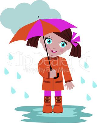 Little girl under an umbrella