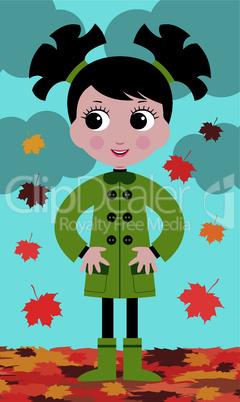 little girl in the autumn on walk