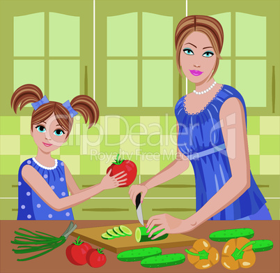 Daughter helps mum to prepare.