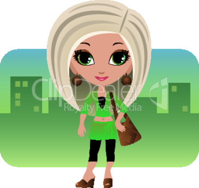 Cartoon woman in a city