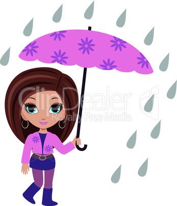 woman cartoon with umbrella