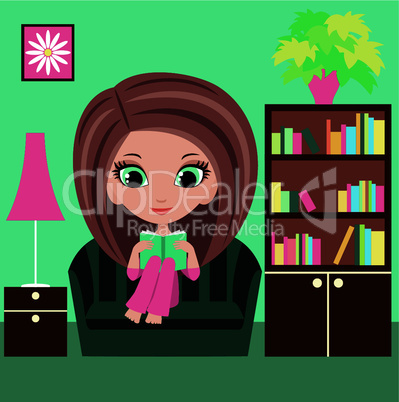 Girl cartoon reads the book on a sofa.