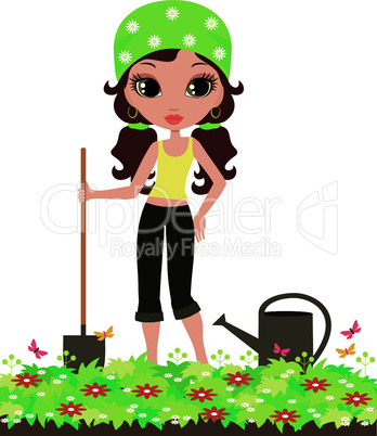 Girl the gardener on a white background