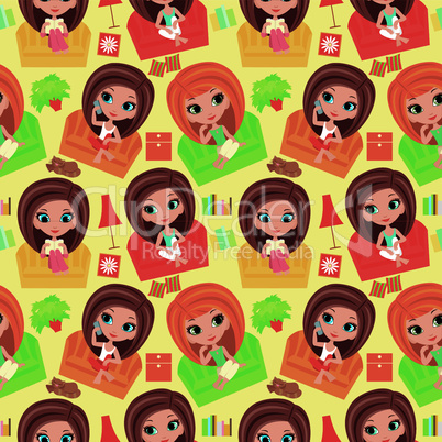 Seamless girls cartoon pattern.