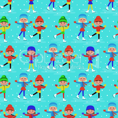 Seamless girls on a skating rink pattern