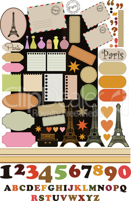 Scrapbook elements with Tour d'Eiffel.