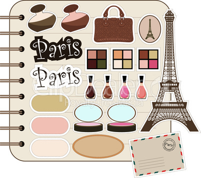 Scrapbook elements with Tour d'Eiffel and cosmetics