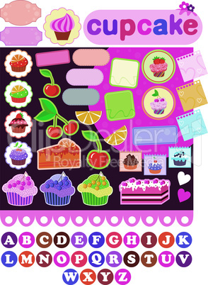 Scrapbook elements with cupcakes