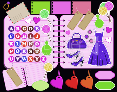 Scrapbook elements with letters and clothes.
