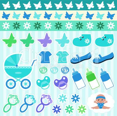 Scrapbook elements with children's accessories.
