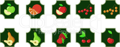 ???Fruits. Set of icons.