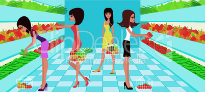 Women choose vegetables in a supermarket